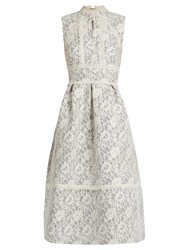 Erdem Zinaida Floral Lace Structured Dress Grey White