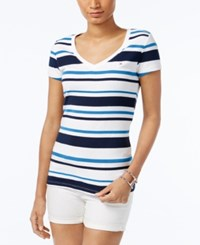 Tommy Hilfiger Wendy Striped V Neck T Shirt Blue Bird