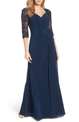 La Femme Women's Lace And Net Ruched Twist Front Gown Navy