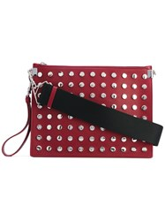 Versace Large Studded Clutch Bag Women Calf Leather One Size Red