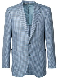 Canali Woven Check Blazer Men Silk Linen Flax Wool 56 Blue
