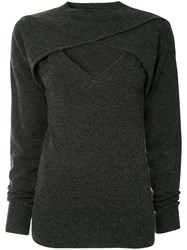 Christopher Esber Cropped Cross Over Top Grey