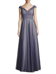 Kay Unger Pleated Tulle And Lace Gown Indigo