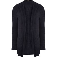 River Island Mens Blue Knit Open Hooded Cardigan
