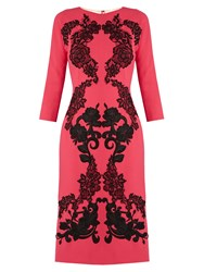 Dolce And Gabbana Floral Applique Wool Crepe Dress Pink