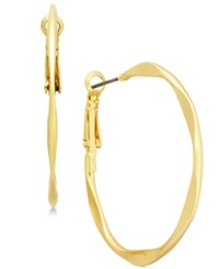 Inc International Concepts Gold Tone Hammered Hoop Earrings Created For Macy's