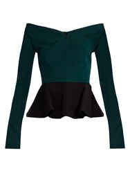 Emilio De La Morena Olena Bi Colour Silk Blend Peplum Top Black Green