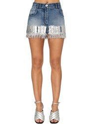 Balmain Sequin Fringe Cotton Denim Mini Skirt