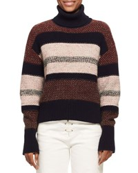 Chloe Knit Tweed Turtleneck Sweater Red Pattern