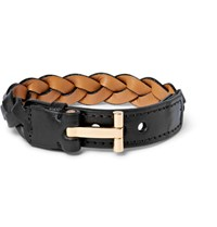 Tom Ford Woven Leather And Gold Plated Bracelet Black