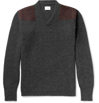 Kingsman Merlin's Suede Panelled Ribbed Wool Sweater Charcoal