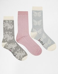 Lovestruck 3 Pack Socks In Cream And Grey Floral Grey Cream