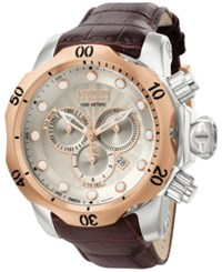 Invicta Men's Swiss Chronograph Reserve Venom Brown Leather Strap Watch 54Mm 0359