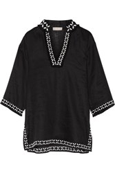 Tory Burch Embellished Embroidered Linen Tunic Black