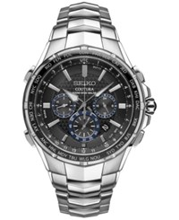 Seiko Men's Solar Chronograph Coutura Stainless Steel Bracelet Watch 45Mm Ssg009 Silver