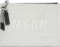 Msgm Off White Croc Embossed Leather Pouch