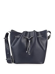 French Connection Leather Bucket Bag Utility Blue