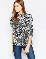 B.Young Animal Print 3 4 Sleeve Top Off White