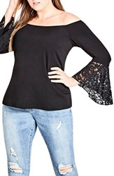 City Chic Plus Size Women's Lace Bell Sleeve Off The Shoulder Top Black