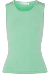 Oscar De La Renta Cashmere And Silk Blend Top Green
