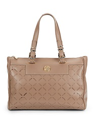 Versace Laser Cut Leather Tote Bag Light Brown
