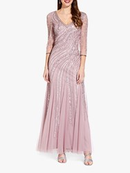 Adrianna Papell Long Beaded Dress Dusted Petal