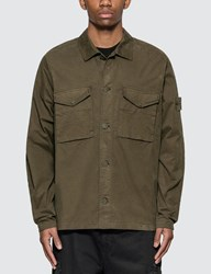 Stone Island Ghost Pieces Stretch Cotton Twill Overshirt Green