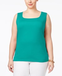 Karen Scott Plus Size Cotton Square Neck Tank Top Only At Macy's Crisp Teal