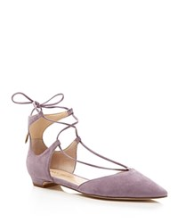 Ivanka Trump Tavyn Suede Lace Up Pointed Toe Flats Purple