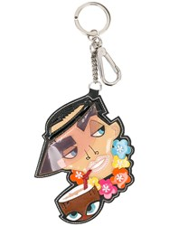 Dsquared2 Cartoon Charm Keychain Women Calf Leather Polyester Polyurethane One Size Coconut