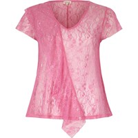 River Island Womens Bright Pink Lace Front Ruffle Top