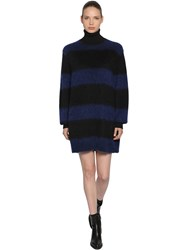 Sportmax Striped Mohair Knit Dress Blue Black