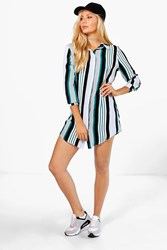 Boohoo Stripe Shirt Dress Teal