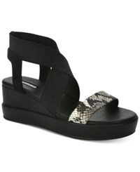Tahari Prince Platform Wedges Women's Shoes Black White Snake