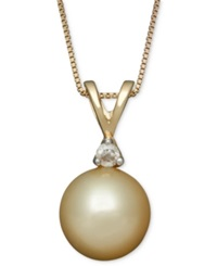 Macy's Golden South Sea Pearl 8Mm And Diamond Accent Pendant Necklace In 14K Gold