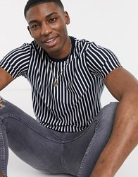 Topman T Shirt With Vertical Stripe In Navy And White