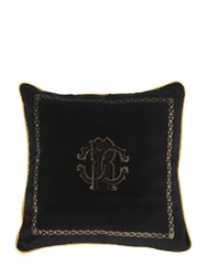 Roberto Cavalli Venezia Cotton And Silk Pillow Black