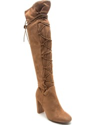 Qupid York Lace Up Knee Boot Camel