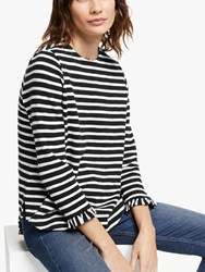 And Or Rae Ruffle Sleeve Stripe T Shirt Black Ivory