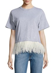 Opening Ceremony Feather Trim Cropped Cotton Tee Heather Grey