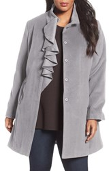 Tahari Plus Size Women's Kate Ruffle Wool Blend Coat Sterling Grey