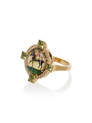 Francesca Villa 18K Yellow Gold And Diamond Riding Motif Ring 108 108 Multicoloured