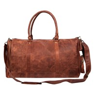 Mahi Leather Columbus Holdall Duffle Weekend Overnight Bag In Vintage Brown