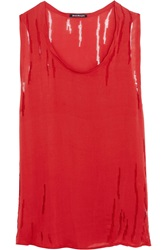 Balmain Distressed Silk Tank Red