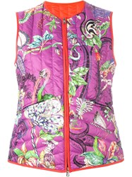 Etro Floral Print Gilet Pink And Purple