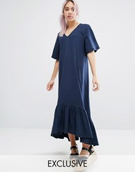 Monki V Neck Ruffle Hem Dress Navy