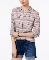 Tommy Hilfiger Striped Roll Tab Shirt Only At Macy's Fuschia