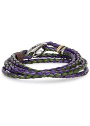 Paul Smith Purple And Green Braided Leather Wrap Bracelet