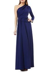 Kay Unger One Shoulder Faille Gown Navy