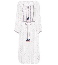 Velvet Isilda Floral Embroidered Dress White